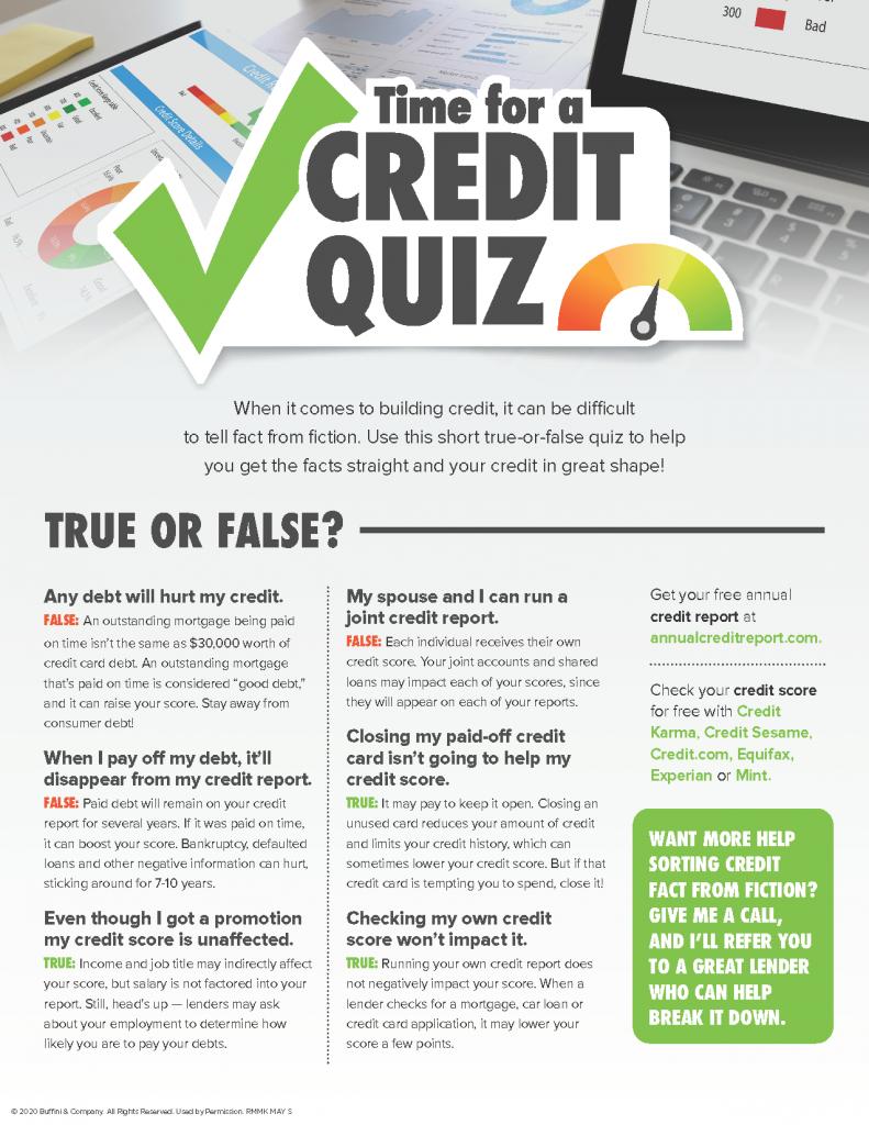 Credit score quiz